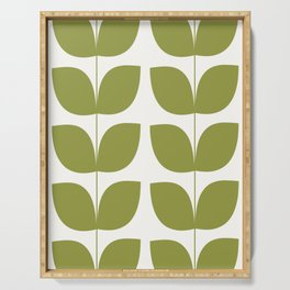 Mid Century Modern Leaves Green #society6 #buyart Serving Tray