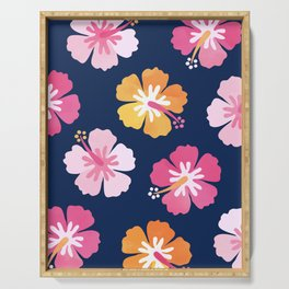CANDY COLORED HIBISCUS on NAVY Serving Tray