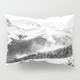 Fresh Snow Dust // Black and White Powder Day on the Mountain Pillow Sham