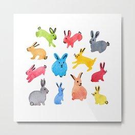 Playful Bunnies Metal Print