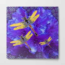 Golden Dragonflies Midnight Blue Dreamscape Metal Print