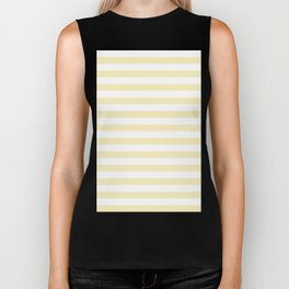 Narrow Horizontal Stripes - White and Blond Yellow Biker Tank