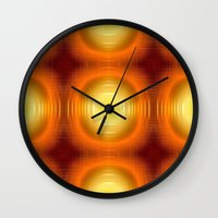 70s Wall Clocks featuring Flashy 70s,effect,red by MehrFarbeimLeben