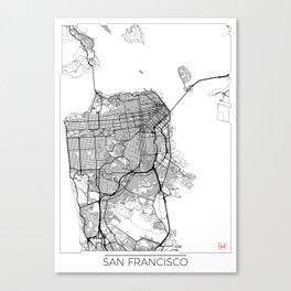 San Francisco Map White Canvas Print