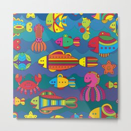 Stylize fantasy fishes under water Metal Print