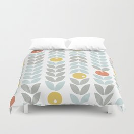 Mid Century Modern Retro Leaf and Circle Pattern Duvet Cover