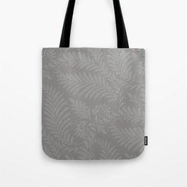 Pantone Pewter Fancy Leaves Scroll Damask Pattern Tote Bag