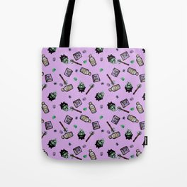 Purple Witches Brew & Fairy Dust Pattern Tote Bag