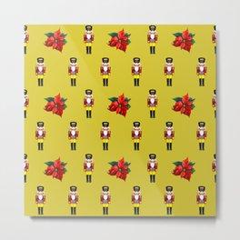 Nutcracker Poinsetta Chritsmas Flowers pattern yellow Metal Print