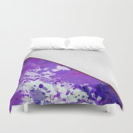 Abstract violet lilac white watercolor paint splatters Duvet Cover