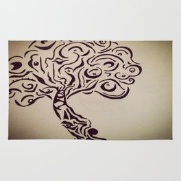 Ink Doodle Eyeball Tree Rug