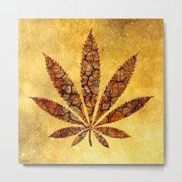 Vintage Cannabis Leaf Metal Print