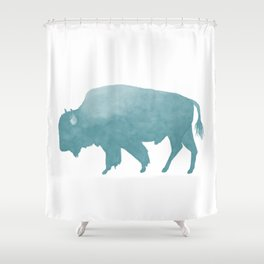 Watercolor Bison in Mint Blue Shower Curtain