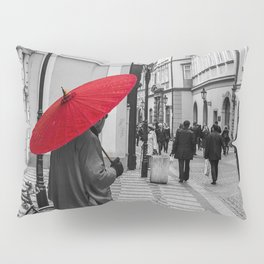 The Red Umbrella cityscape black and white photograph / art photography Pillow Sham