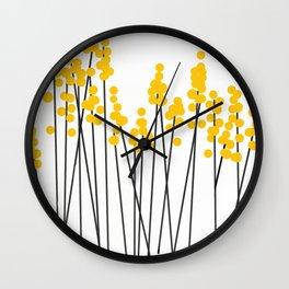Hello Spring! Yellow/Black Retro Plants on White #decor #society6 #buyart Wall Clock