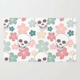 cute colorful pattern with skulls and flowers Rug