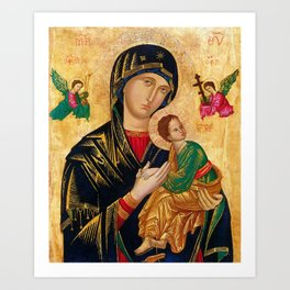 Our Lady of Perpetual Help Virgin Mary and Child Icon Christmas Gift Religion Art Print