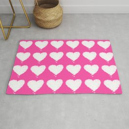 Beautiful white heart shaped hearts on pink background Rug