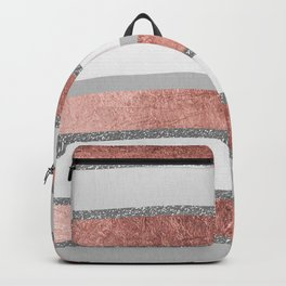 Gray faux silver rose gold geometrical wave stripes Backpack