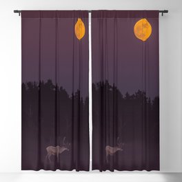 Full Moon - Winter Night With Reindeer At Edge Of Forest #decor #buyart #society6 Blackout Curtain