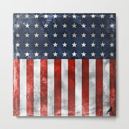 American Flag Stars and Stripes Distressed Grunge Metal Print