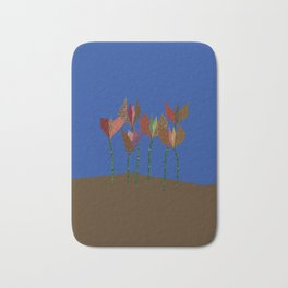 Flower Profiles with Stems (blue) Bath Mat