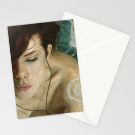 Woman Portrait Listening with Earphones Female Figurative Painting Stationery Cards