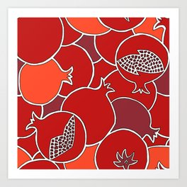 Pomegranate Harvest with Fruit and Seeds Art Print