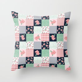 Cheater Quilt basic trendy floral pattern navy pink modern nursery florals cheater quilts Throw Pillow