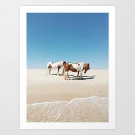 Summer Shore Horses Art Print