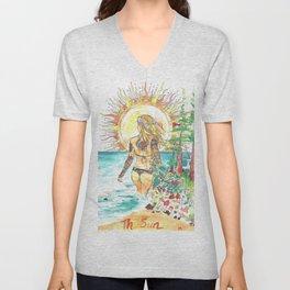 The Sun Tarot Card Bohemian Ocean Goddess Risa Painting Unisex V-Neck