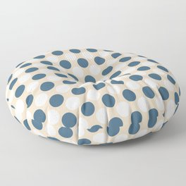 Dark Blue and Off White Uniform Large Polka Dots Pattern on Beige Matches Chinese Porcelain Blue Floor Pillow