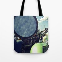 volkswagen Tote Bags featuring volkswagen turtle car by gzm_guvenc