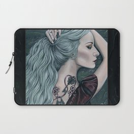 Silence Woman Portrait with Tattoos Laptop Sleeve