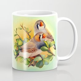 Zebra finches realistic painting Coffee Mug