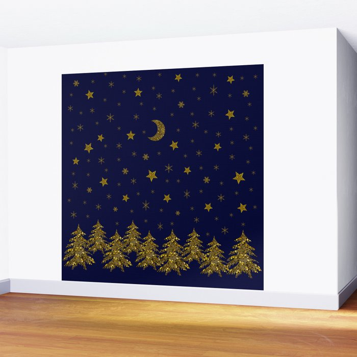 Sparkly Christmas tree, moon, stars Wall Mural