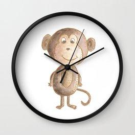 Brown little monkey in watercolor Wall Clock