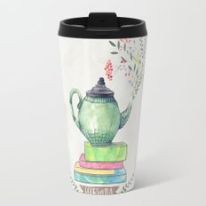 Books & Tea Watercolor Travel Mug