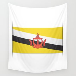 Flag of Brunei.  The slit in the paper with shadows.  Wall Tapestry
