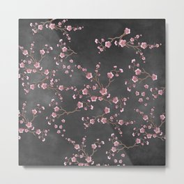 SAKURA LOVE - GRUNGE BLACK Metal Print