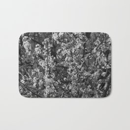Black And White Pear Tree Blooming Bath Mat