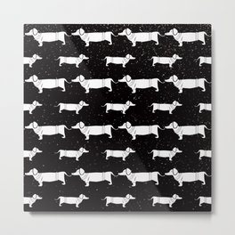 Funny Dachshund Pattern-White on Black-Mix & Match with Simplicity of life Metal Print