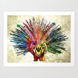 Porcupine Grunge Art Print