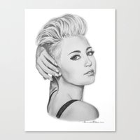 miley Canvas Prints featuring Miley by Amanda Tiberi