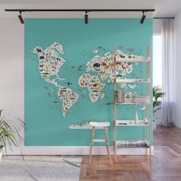 Cartoon animal world map for children and kids, Animals from all over the world Wall Mural