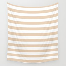 Narrow Horizontal Stripes - White and Pastel Brown Wall Tapestry