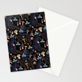 dark wild forest mushrooms Stationery Cards