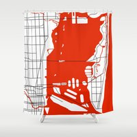 miami Shower Curtains featuring Miami Beach  Miami Map by Studio Tesouro
