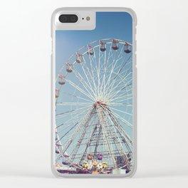 Fairground and ferris wheel against a blue sky, Blackpool Clear iPhone Case