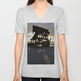 Wreck of the Peter Iredale at sunset Unisex V-Neck